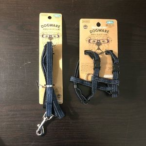 XXS Dog Harness and Leash Blue Soft Denim Leash